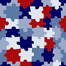 Red, White and Blue Puzzle Pieces by Pamela Maxwell