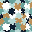 Elegant Blue, Teal and Gold Puzzle Design by Pamela Maxwell