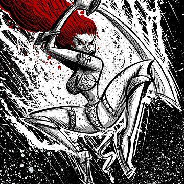 Red Sonja, Red Sonya, Joe Badon, comic book, wall art, illlustration, cartoon, comic, Fantasy, Conan the Barbarian, Brigitte Nielsen, Warrior by joebadon
