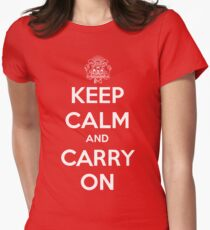 Keep Calm Carry On Calgary White Women's Fitted T-Shirt