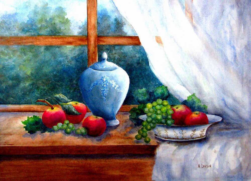 BLUE GINGER POT WITH GRAPES AND APPLES by Mary  Lawson