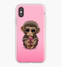 Cute Baby Monkey Holding a Pink Cell Phone  iPhone Case