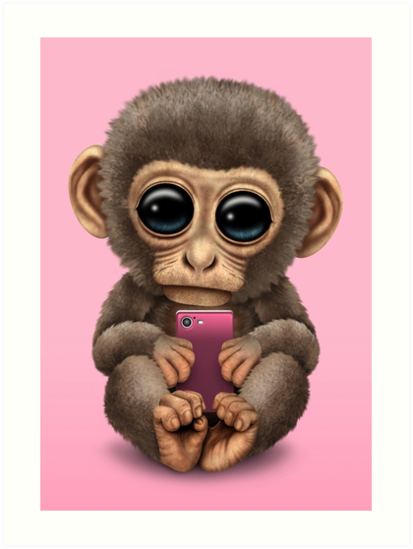 Cute Baby Monkey Holding a Pink Cell Phone  by jeff bartels