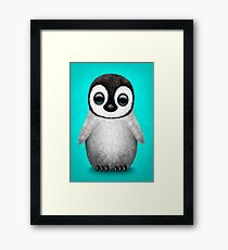 Cute Baby Penguin on Blue Framed Print
