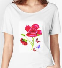 Poppies and Butterflies Women's Relaxed Fit T-Shirt