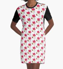 Poppies and Butterflies Graphic T-Shirt Dress