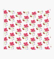Poppies and Butterflies Wall Tapestry
