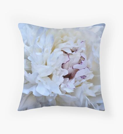 Inside A Beautiful, Fragrant, White Peony Throw Pillow