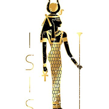 Isis - Ancient Egyptian goddess gold and black by polygrafix