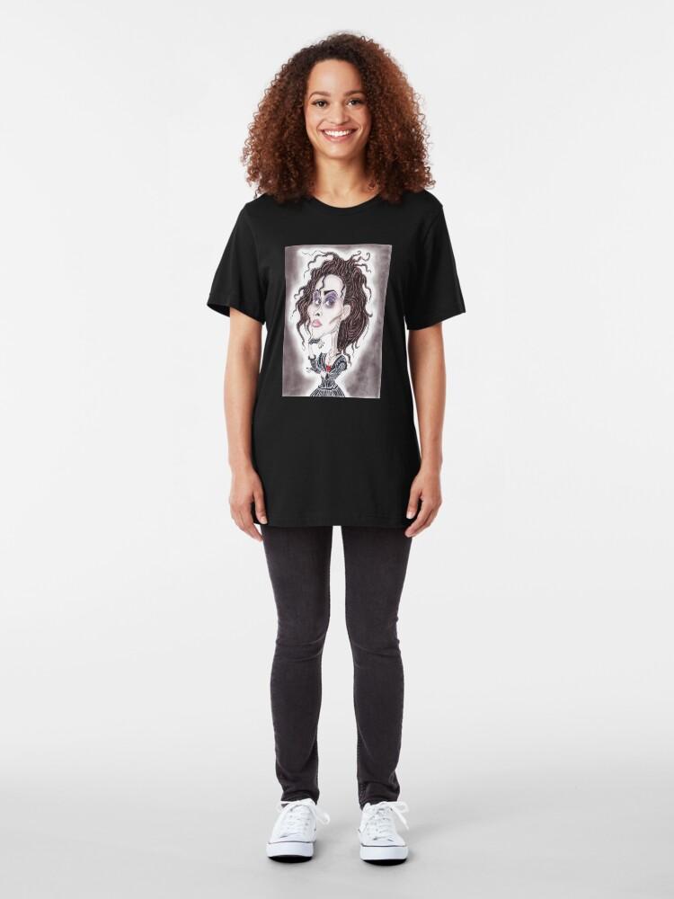 Alternative Ansicht von Viktorianische gotische dunkle Karikaturzeichnung Slim Fit T-Shirt