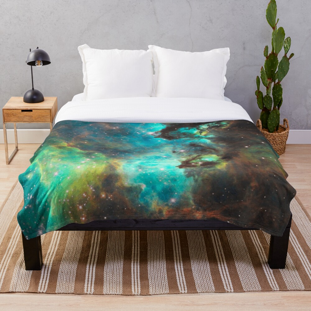 Green Galaxy Throw Blanket