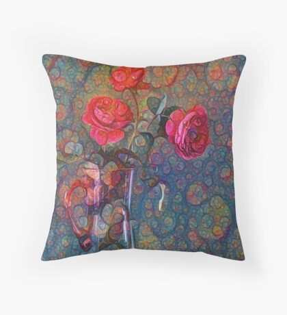 Roses #DeepDreamed Throw Pillow
