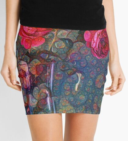 Roses #DeepDreamed Mini Skirt