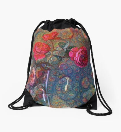 Roses #DeepDreamed Drawstring Bag