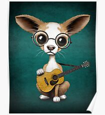 Póster Chihuahua Puppy Dog Playing Old Acoustic Guitar Teal