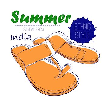 Ethnic sandal from India. Drawing design by mnimpres