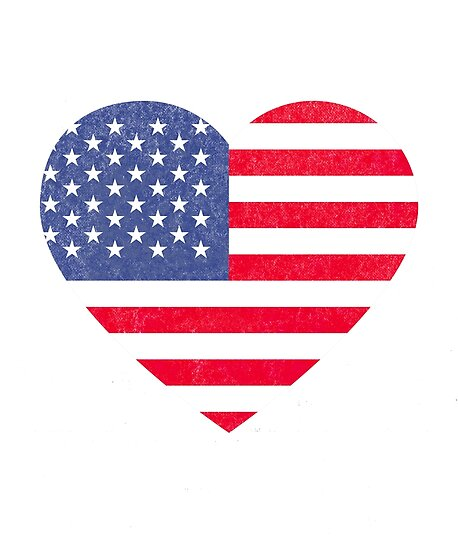 Usa Flag Heart Distressed Patriotic 4th Of July Red White Blue