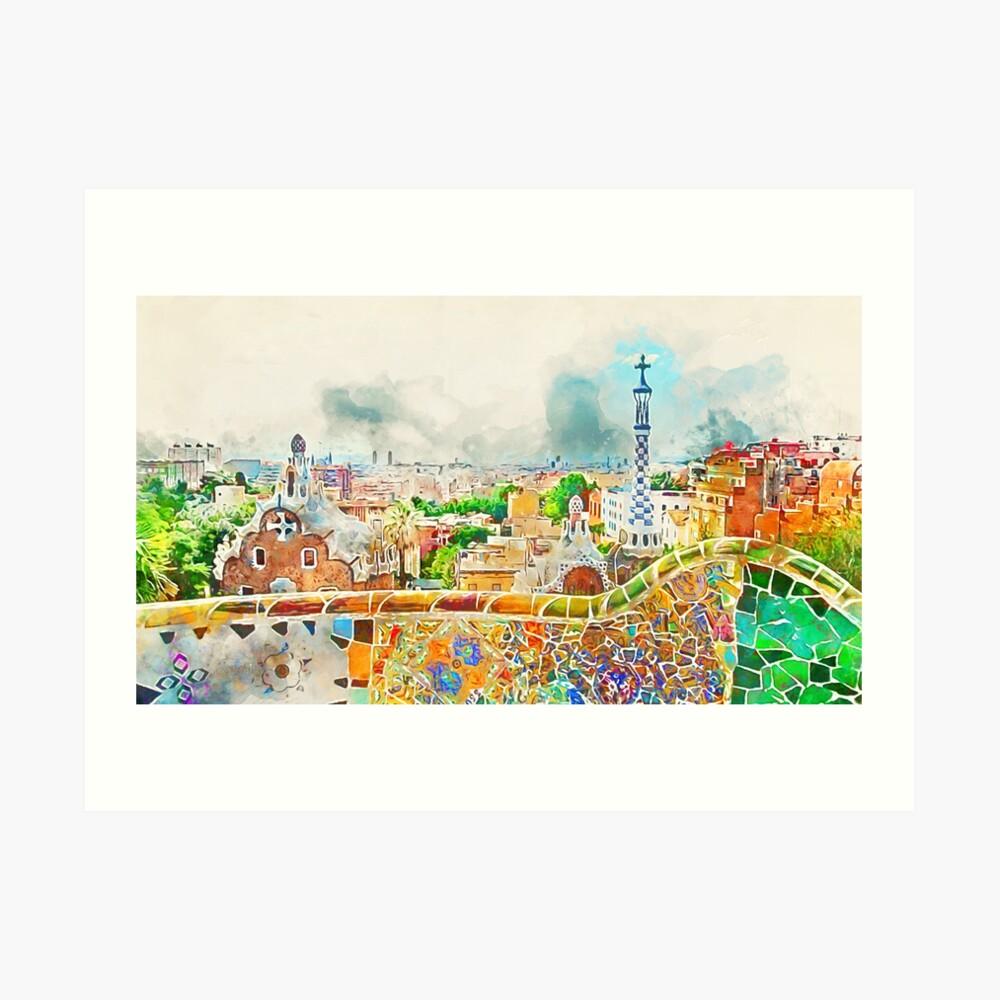 Barcelona, Parc Güell Kunstdruck