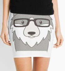 Hipster Wolf Head With Glasses Mini Skirt