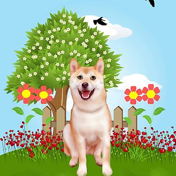Shiba Inu Dog in Garden with Flowers Spring by aashiarsh