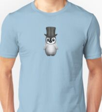 Cute Baby Penguin with Monocle and Top Hat on Blue Unisex T-Shirt
