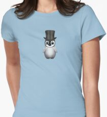 Cute Baby Penguin with Monocle and Top Hat on Blue Women's Fitted T-Shirt