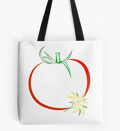 Colour outline of ripe tomato and tomato flower Tote Bag