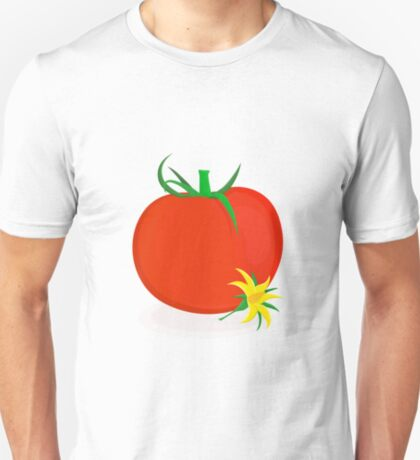 Ripe tomato with green stalk and yellow tomato flower lying near it T-Shirt