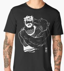 BEAR KISS - WHITE LINEART Men's Premium T-Shirt