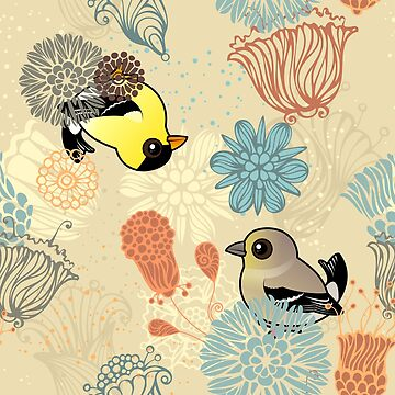 Birdorable American Goldfinch & Flowers Pattern by birdorable