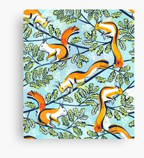 Oak Tree with Squirrels in Summer Canvas Print