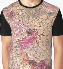 Succulents in the Garden a study in rose pink Graphic T-Shirt