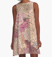 Succulents in the Garden a study in rose pink A-Line Dress