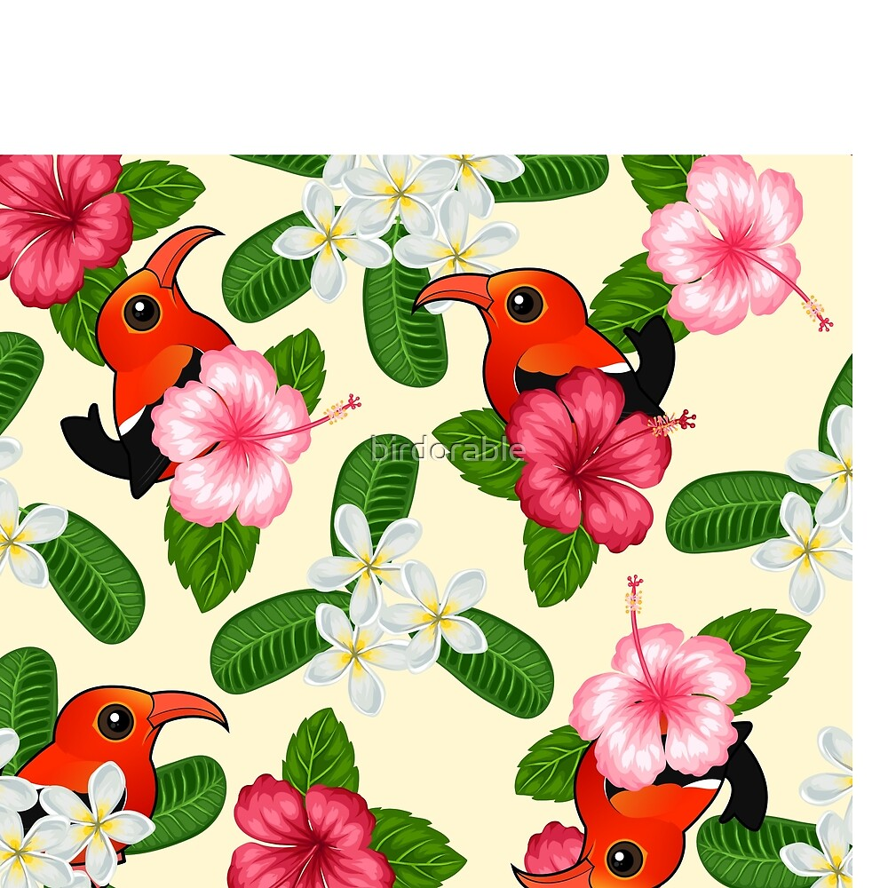 Birdorable Iiwi Bird From Hawaii With Flowers Pattern By