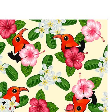 Birdorable 'I'iwi Bird from Hawaii with Flowers Pattern by birdorable