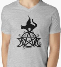 Triple Moon Pentacle Winged Cat Wiccan Wicca Pagan Design Men's V-Neck T-Shirt
