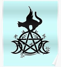 Triple Moon Pentacle Winged Cat Wiccan Wicca Pagan Design Poster