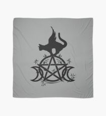 Triple Moon Pentacle Winged Cat Wiccan Wicca Pagan Design Scarf