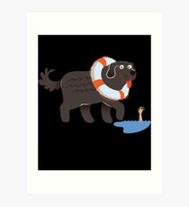 Newfoundland Newfie Swimming Gift Idea   Art Print