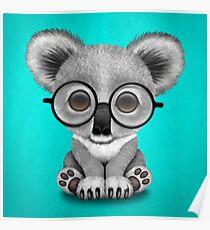 Cute Baby Koala Bear Cub Wearing Glasses on Blue Poster