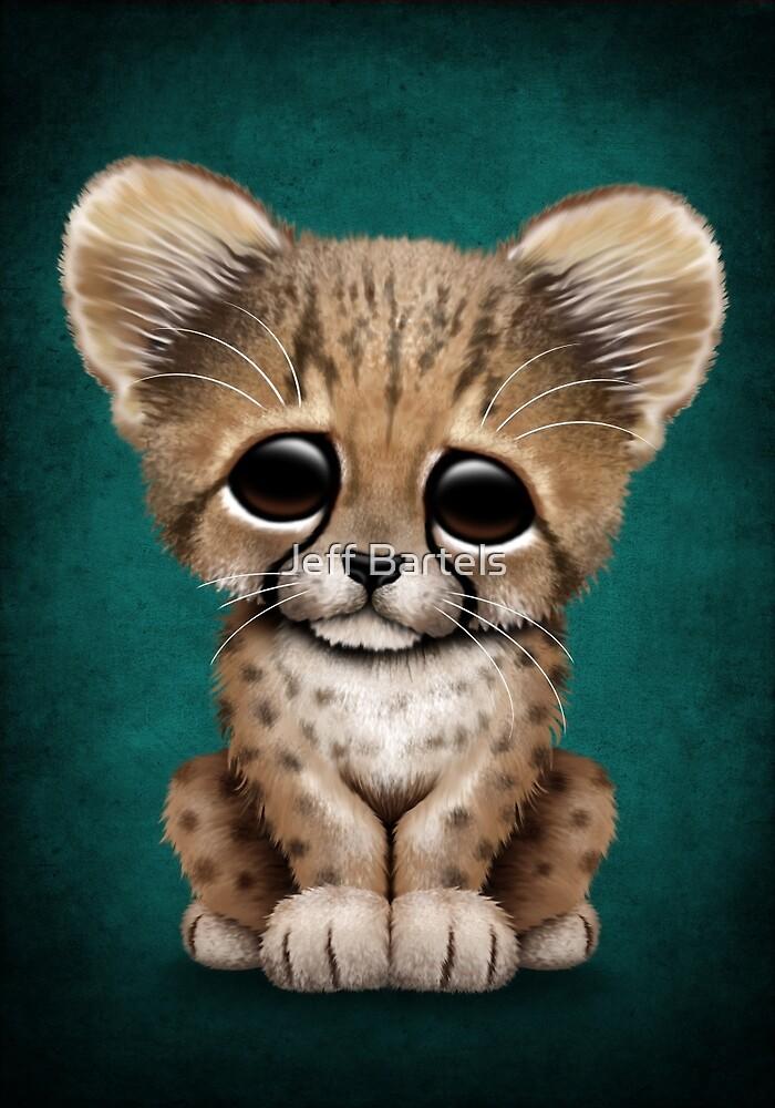 Cute Baby Cheetah Cub on Teal Blue by jeff bartels