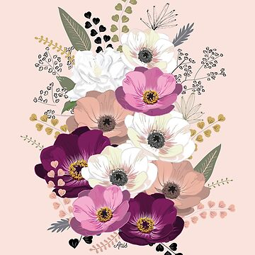 Anemones & Gardenia bouquet by anisg