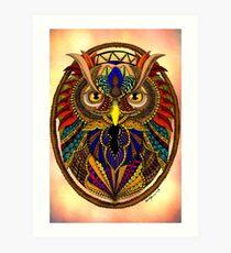 Ornate Owl in Color Art Print