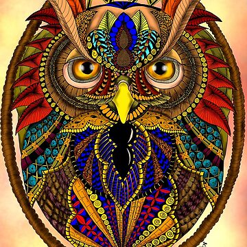 Ornate Owl in Color by BHDigitalArt