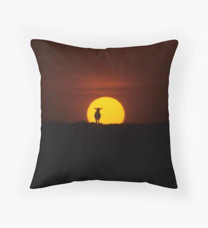 Wildebeest Sunset Throw Pillow