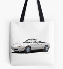 Mazda MX-5 Miata MK1 Crystal White Tote Bag