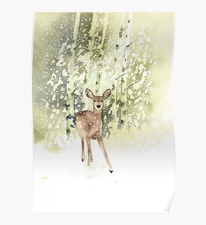 Deer in the Snow Poster