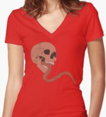 Skull Tongue [Red] (Other Colours Available) Women's Fitted V-Neck T-Shirt