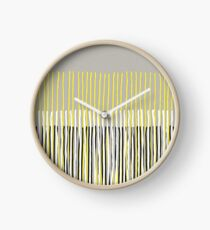 Yellow Rising - Abstract Stripes in Yellow, Grey, Black & White Clock