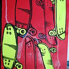 lino cut sk8boards by Andrew Hennig
